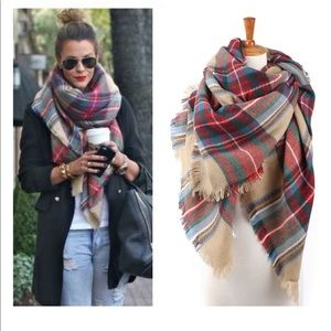 Oversized soft plaid tartan blanket scarf!